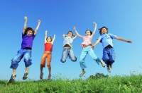 Group of Children Happily Jumping with Abandon